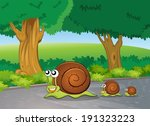 Illustration of the snails at the road - stock vector