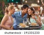 friends eating dinner in a... | Shutterstock . vector #191331233