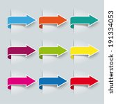9 colored arrows on the grey... | Shutterstock .eps vector #191334053
