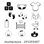 baby items | Shutterstock .eps vector #191355407