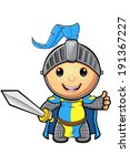 blue and yellow knight character | Shutterstock .eps vector #191367227