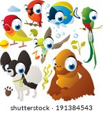Vector animal set: lovebird, orangutan, quetzal, cardinal, hummingbird, dog, fish - stock vector
