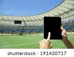 finger touching blank tablet... | Shutterstock . vector #191420717