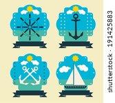 marine set labels | Shutterstock .eps vector #191425883
