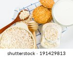oat flakes pile on the white... | Shutterstock . vector #191429813