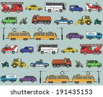 seamless pattern with cars.... | Shutterstock . vector #191435153