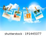 vacation photos hanging on a... | Shutterstock .eps vector #191445377