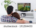 couple watching soccer game on... | Shutterstock . vector #191504453