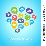set of social network icons on... | Shutterstock .eps vector #191535377
