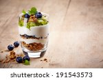 healthy layered dessert with... | Shutterstock . vector #191543573