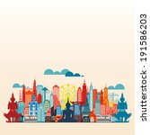 Colorful panorama asia city and building, illustration vector Bangkok city - stock vector