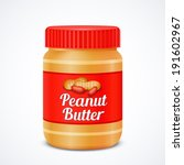Jar Of Peanut Butter Isolated...