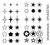 Collection Of Stars Isolated O...