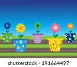 flowers in pots | Shutterstock .eps vector #191664497