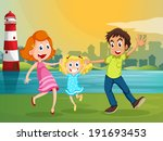 illustration of a happy family... | Shutterstock . vector #191693453