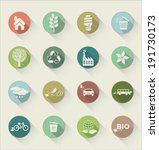 ecology flat icons with long...