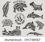 Vintage Branding and Marketing Labels - Textured animal-shaped advertisement signs for outerwear, water polo club, apparel, gardening, etc.