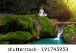 woman practices yoga in nature  ... | Shutterstock . vector #191745953