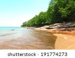 beach on rocky lakeshore with... | Shutterstock . vector #191774273