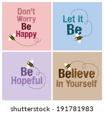 bee card with cheerful massage... | Shutterstock .eps vector #191781983