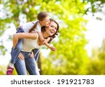 mother and daughter in park.... | Shutterstock . vector #191921783