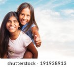 portrait of a cute sisters... | Shutterstock . vector #191938913