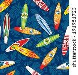 surfboard hibiscus pattern...   Shutterstock .eps vector #191951723