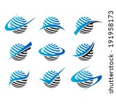 sphere logo icons with swoosh... | Shutterstock .eps vector #191958173
