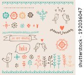hand drawn romantic set with... | Shutterstock .eps vector #192036047