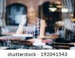 young woman talking on phone... | Shutterstock . vector #192041543