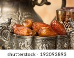 silver bowl filled with dates... | Shutterstock . vector #192093893