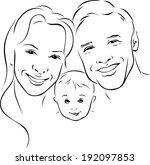 happy family   black outline... | Shutterstock .eps vector #192097853