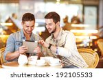 Two Young Men   Students Using...