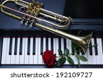 Piano Keyboard  Red Rose And...