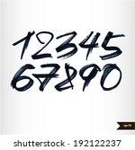 calligraphic watercolor numbers | Shutterstock .eps vector #192122237
