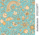 cute doodle seamless pattern ... | Shutterstock .eps vector #192211877