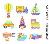 toy transport cartoon icons set ... | Shutterstock . vector #192252197