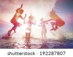 summer silhouettes of happy... | Shutterstock . vector #192287807