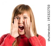 young girl shouting over... | Shutterstock . vector #192322703