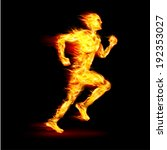 Fiery Running Man With Motion...