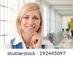 portrait of happy blond female... | Shutterstock . vector #192445097