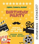 movie night. birthday party card | Shutterstock .eps vector #192465257
