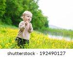 happy toddler boy with blonde...   Shutterstock . vector #192490127