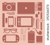 Flat icons, design devices and workplace. Graphic designer desktop