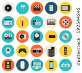 flat icons set of multimedia... | Shutterstock .eps vector #192544343