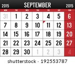 calendar for september 2015 | Shutterstock .eps vector #192553787