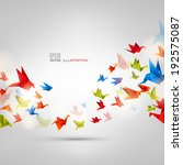Origami Paper Bird On Abstract...