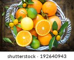 Citrus Fruits In Basket On...
