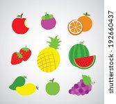 fruit vector cartoon on gray... | Shutterstock .eps vector #192660437