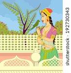 queen with parrot in indian art ... | Shutterstock .eps vector #192730343